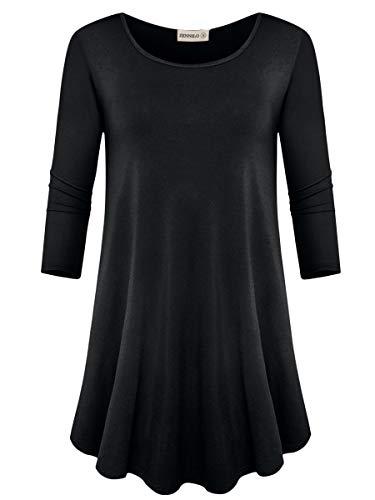 ZENNILO Women's 3/4 Sleeve Top Scoop Neck Casual Tunic T-Shirt (Black, 1X) (Scoop Sleeve Top Neck 3/4)