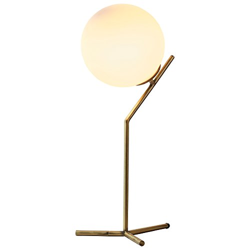 """Rivet Glass Ball and Angled Metal Table Lamp with Bulb, 21.5""""H, Brass"""