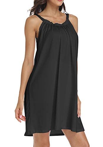 Poulax Women's Summer Causal Solid Color Beach Dress Swimsuit Bikini Cover Ups(FBA) (One-Size, Black)