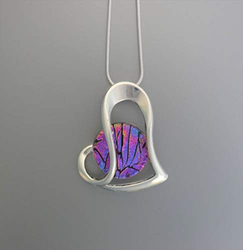 Pink and Purple Dichroic Fused Glass Heart Pendant