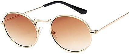 Sunglasses Gafas De Sol Retro De Montura Pequeña para Mujer, Gafas De Sol De Metal con Espejo Ovalado, Diseñador De Marca Vintage para Mujer, Marrón Dorado