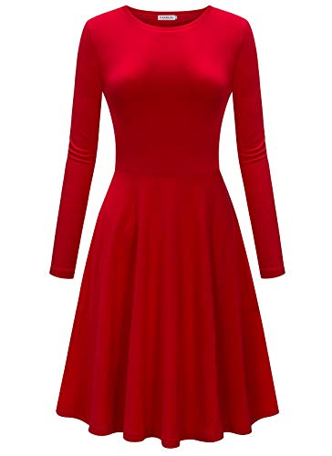 HIKA Women's Casual Elegant A Line Short Cap Sleeve Round Neck Dress (Small, Red-Long Sleeve)