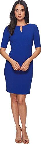 Tahari by ASL Women's Short Sleeve Crepe Sheath with V-Neck Brilliant Blue (Asl Crepe Dress)