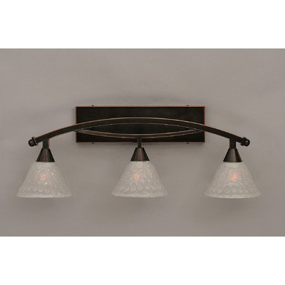 Bow Front Bubble (Toltec Lighting 173-BN-451 Bow 3 Light Bath Bar with 7