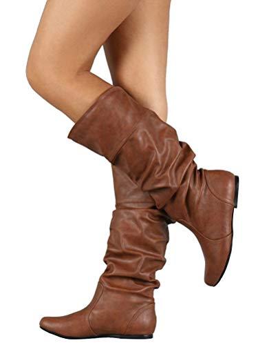 Pieghettati Minetom Stivali Casual Da Marrone Inverno Autunno Donna Pelle Di Gli Alti Moda Boots 5qq0rwzdF