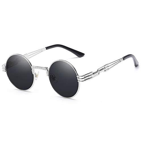 (Gothic Steampunk Sunglasses Men Women Metal Eyeglasses Round Shades Sun Glasses Mirror UV400 Eyewear 03)