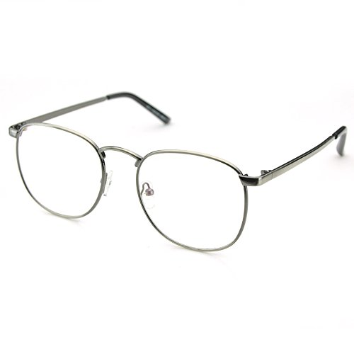 PenSee Oversized Circle Metal Eyeglasses Frame Inspired Horned Rim Clear Lens Glasses (Gun - Glasses Oval Circle