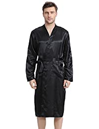 FLYCHEN Men's Robe Long Satin Bathrobe Lightweight Nightwear Loungewear