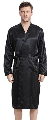 FLYCHEN Mens Robe Long Satin Bathrobe Lightweight Nightwear Loungewear