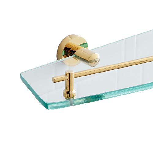 Naiture Collection Tempered Glass Shelf in Polished Brass Finish ()