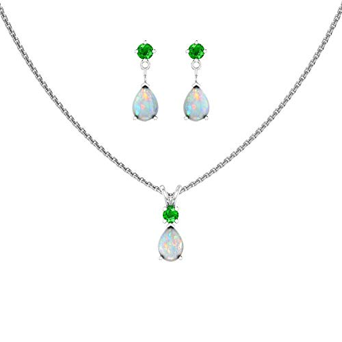 Sterling Silver Jewelry Set for Women Pear shaped 7x5mm Opal and 3mm Emerald Pendant Necklace and Matching Pear Shaped Opal & Emerald Stud Earrings
