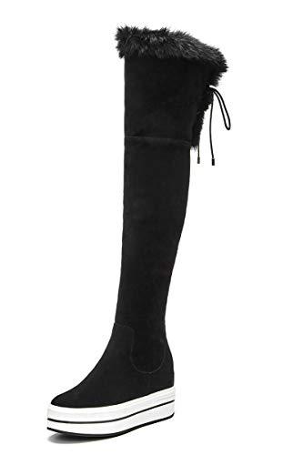TSNMNB Muffin de Invierno con Pelo de Conejo Grueso Sobre Botas a la Rodilla Piernas Delgadas de Mujer con Aumento de Botas elásticas Botas Planas con Cremallera Lateral, 36, Negro