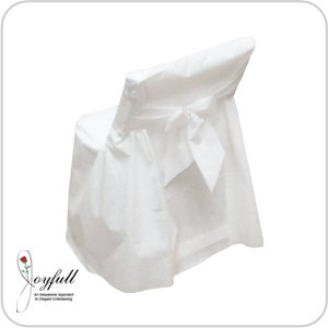 Joyfull ''Linen-look'' Disposable Folding Chair Cover with Bow, 4 Pack by Joyfull