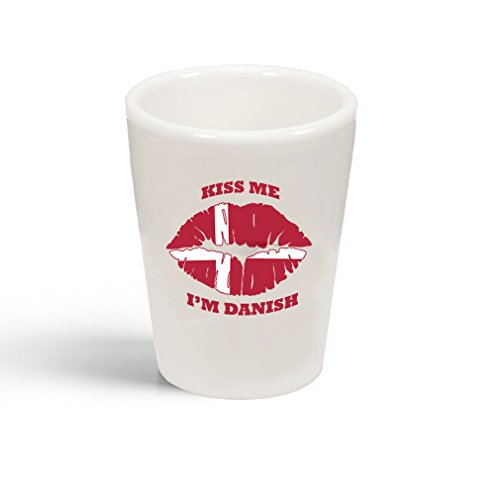 Style In Print Kiss Me I'm Danish Denmark Flag Ceramic Shot Glass - I Glasses Denmark