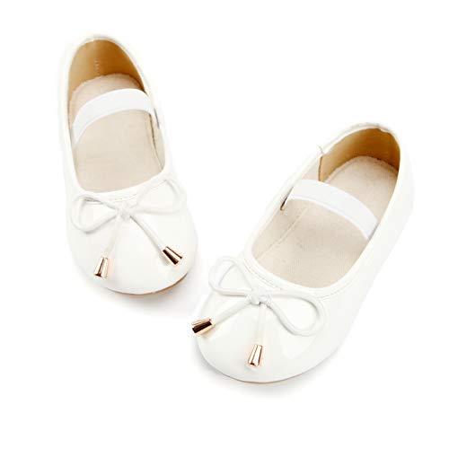Bear Mall Girl Shoes Mary Jane Dress Shoes for Little Girl Toddler Ballet Flat (11 M US Little Kid, B801 White) -