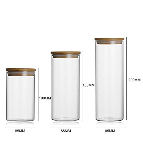 Glass Food Storage Jar Kitchen Storage Bottles for Beans Condiment Tea Cans with Wood Lid Large Capacity (Card Credit Tier List)