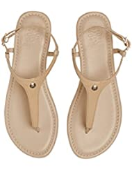 CAMBIAMI Tan Leather Base With Tan Patent Straps Womens