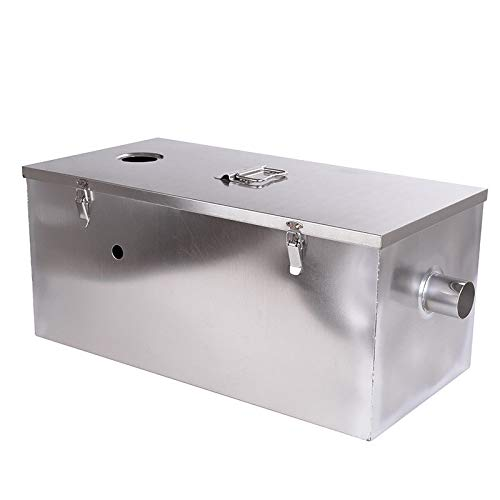 (Wifond Commercial 201 Stainless Steel Oil Fats Grease Trap 25lb 13 Gallons Per Minute Interceptor for Kitchen Restaurant - Upper Entrance)