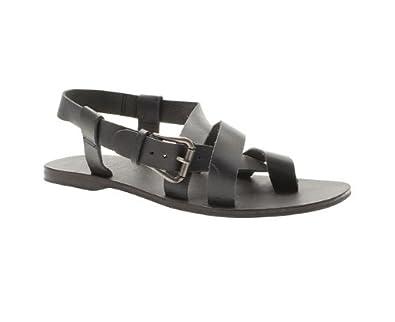 c541172f6d1 Todd Barnes Mens Black Leather Gladiator Sandal Size 45  Amazon.co ...