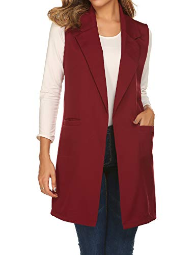 Showyoo Women's Long Sleeveless Duster Trench Vest Casual Lapel Blazer Jacket Wine Red (Notched Collar Vest)
