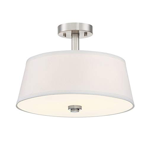 (Designers Fountain 88511SP-A Semi-Flush 2 A19 RGB+ Color Changing, Tunable and Dimmable Bulb Included Satin Platinum)