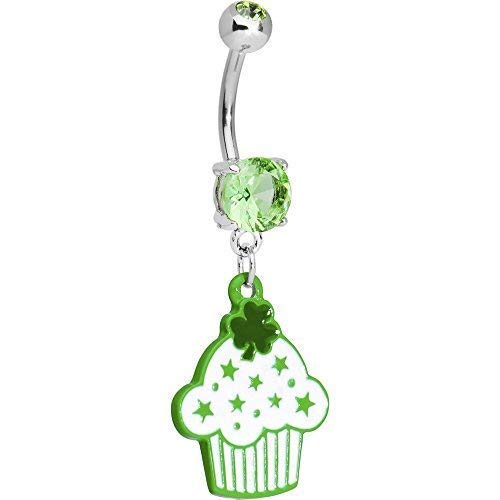 BodyCandy Green Irish Shamrock Cupcake Dangle Navel Belly Bar