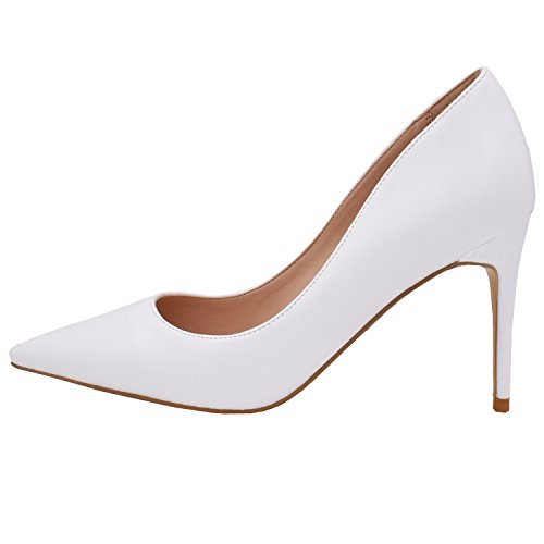 (Lovirs Womens White PU Office Basic Slip on Pumps Stiletto Mid-Heel Pointy Toe Shoes for Party Dress 8 M US)