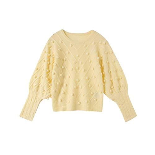 Modo Size Mon5f Corte I Del Yellow Home M A Cime Femminili Pullover Vestiti Per Maglione Maglia Vita color Lavorato Delle Di Donne Della Alta Pink Palla D'annata w1Swq