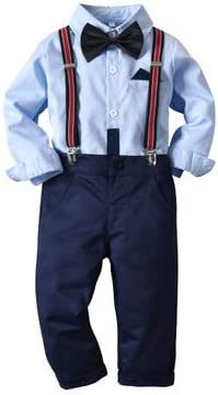 Traje para Niño Formal 2 Piezas 1 Camisa Mangas Largas Azul + 1 Pantalones con Tirantes A + 1 Pajarita Negra Boda, Ceremonia: Amazon.es: Ropa y accesorios