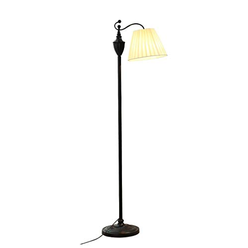 Achldd Floor Lamp Simple Coffee Table Lamp Bedroom Living Room Bedside Read Vertical Table Lamp Metal Tray Foot Switch Iron Lamp Body Cloth Lamp Shade Floor Lamp Light (Style : No Tray)