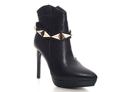 Damen Ankle Boots Stiefelette Schwarz # 701