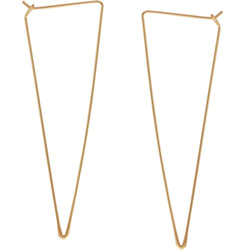 Spike Triangle Threader Hoop Earrings - Long Geometric Arrow Thin Wire Drop Dangles, Triangle 18K Yellow, Gold-Electroplated, Hypoallergenic, by Humble Chic -
