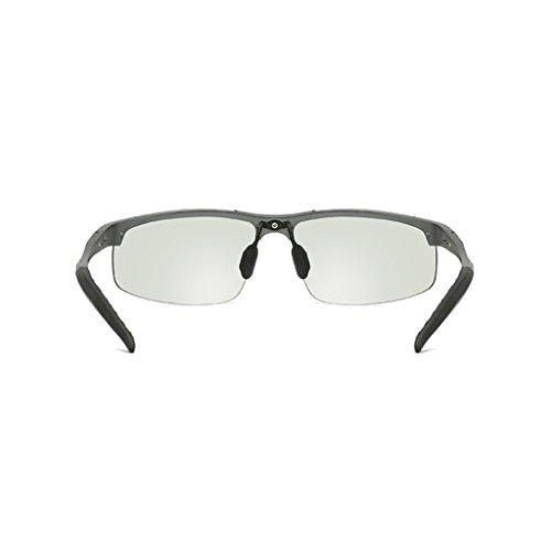 Metálico Polarizadas Vidrios Hombre Día Uso Polarizados Gafas para Sol De Marco Color LBY La Gafas con Color Y Plata De para De Noche Gray de Hombres Dual Sol agwxW0Oq