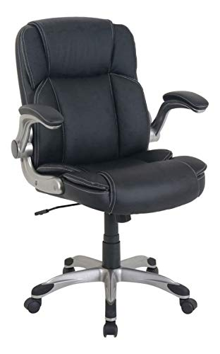 Lorell LLR81802 Soho Flip Armrest Mid-Back Leather Chair, Black