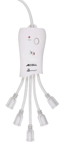 Accell PowerSquid Flexible Surge Protector - 5 Outlets, 6-Foot Cord, 600 Joules, ETL Listed - White Grounded Extension Cord Power Strip -