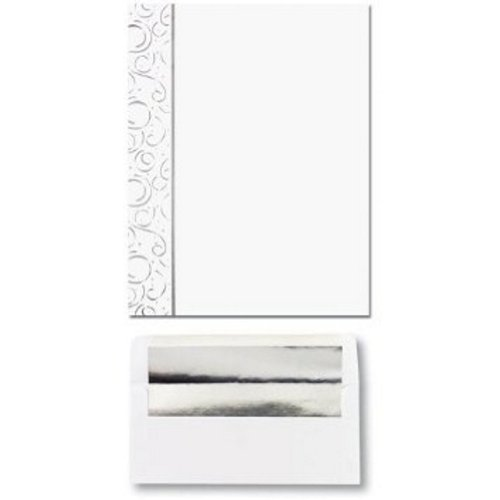 Silver Stars and Streamers Letterhead and Matching Silver Foil Lined Envelopes - 200 Pack by ISO