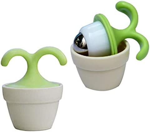2PCS Handheld Body Massager Mini Potted Plant Shaped Roller Ball Bead Relaxation Neck Foot Face Pot Desk Decor Massage Cooling for Neck, Arms, Legs, Feet – Office, Home or On-The-Go Great Gifts