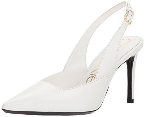 Detail Buckle Leather Slip (Calvin Klein Women's Rielle Pump, Platinum White, 7.5 Medium US)