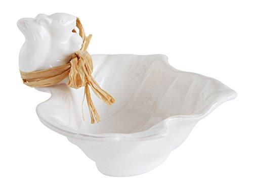 Ceramic Leaf Shaped Antique White Finish Bowl with Squirrel