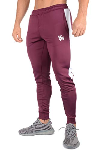 YoungLA Athletic Track Pants for Men Joggers Slim Fit Workout Gym Lounge 215 Burgundy Medium ()