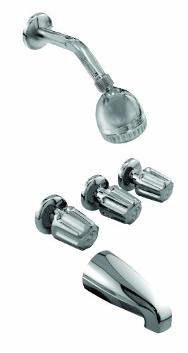 (Aqua Plumb 1820065 Shower & Tub Faucet Set by Aqua Plumb | Meets all Safety Standards, Polished Chrome, and Solid Metal Construction. Easy Temperature and Water Flow Control )