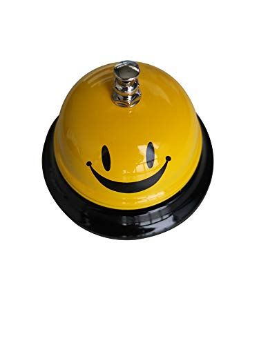 QIQIHOME Call Bell, Service Bell for The Porter Kitchen Restaurant Bar Classic Concierge Hotel, Teacher, Pet Chainning (Yellowhappyface)