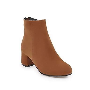 RTRY Women's Shoes Nubuck leather Leatherette Fall Winter Fashion Boots Bootie Boots Chunky Heel Round Toe Booties/Ankle Boots Zipper For US9.5-10 / EU41 / UK7.5-8 / CN42 bNY8L