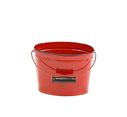 Red Enamel Oval Pail