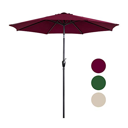 Homevibes 9 Ft Patio Umbrella Outdoor Market Table Umbrella with Push Button Tilt & Crank 8 Steels Ribs 100% Polyester, Burgundy