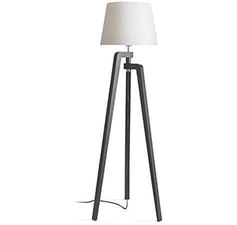 Philips InStyle Gilbert - Lámpara de pie en madera y tulipa de tela 40 W, casquillo gordo E27, pie negro y tulipa blanca: Amazon.es: Iluminación