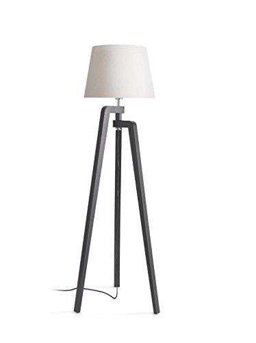Philips InStyle Gilbert - Lámpara de pie en madera y tulipa de tela 40 W, casquillo gordo E27, pie negro y tulipa blanca
