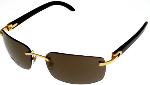 35e97f6101 Galleon - Cartier Sunglasses Unisex Genuine Horn C Decor Gold Rimless  T8200757