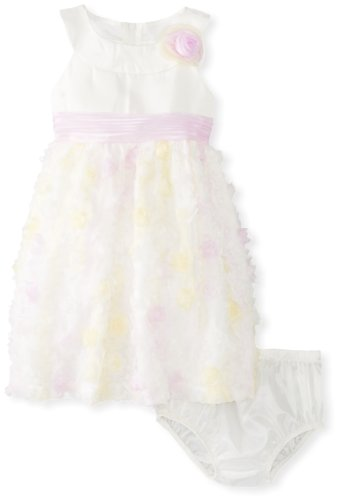 Bonnie Baby Girls' Matte Satin Bodice to Organza Dress with Bonaz, Purple, 12 Months ()