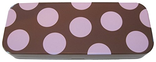 Pink and Brown Spotted, Tin, Eco-friendly, Mini Pencil Box. Use As Pencil, Make-up, Jewelry, Gift, Candy, Baby Shower, Wedding Favor or Birthday Gift Box